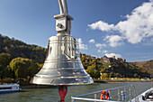 Ship bell of the Cruise ship Viking Sun on the Rhine underneath Rheinfels castle, St. Goar, Upper Middle Rhine Valley, Rheinland-Palatinate, Germany, Europe