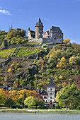 View over the Rhine at Burg Stahleck castle, near Bacharach, Upper Middle Rhine Valley, Rheinland-Palatinate, Germany, Europe