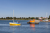 Sailboat in front of the harbour of Rødvig, Stevns Peninsula, Island of Zealand, Scandinavia, Denmark, Northern Europe