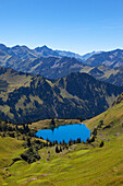 Lake Seealpsee, at Nebelhorn, near Oberstdorf, Allgaeu Alps, Allgaeu, Bavaria, Germany