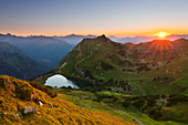 Lake Seealpsee at Nebelhorn, near Oberstdorf, Allgaeu Alps, Allgaeu, Bavaria, Germany