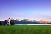 St Coloman pilgrimage church, view to Tannheimer mountain range, Allgaeu Alps, Allgaeu, Bavaria, Germany
