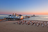 Pier in the evening light, Sellin, Ruegen, Baltic Sea, Mecklenburg-West Pomerania, Germany