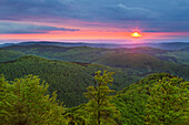 View from Grosser Inselsberg towards the mountains of the Thuringia Forest, Thuringia, Germany