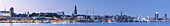 Panoramic view of Elbe, Michel, jetties Landungsbrücken and Hanseatic Trade Tower, Hanseatic City Hamburg, Northern Germany, Germany, Europe