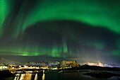 Northern lights, Aurora borealis, Kabelvag, Austvagoya, Lofoten Islands, Norway, Skandinavia, Europe