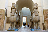 France, Paris, area listed as World Heritage by UNESCO, Louvre Museum, Oriental Antiquities, Khorsabad Courtyard, Assyrian monumental statues of winged bulls, 8th century door gardians of King Sargon II's Palace