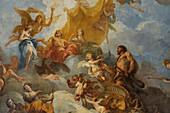 France, Yvelines, Chateau de Versailles, listed as World Heritage by UNESCO, Hercules Drawing room, Hercule represente sur la peiture du plafond