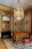 France, Yvelines, Chateau de Versailles, listed as World Heritage by UNESCO, the King's Private Apartment, Cabinet interieur du Roi (the King's inner chamber), roll top desk by Oeben and Riesener