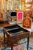 France, Yvelines, Chateau de Versailles, listed as World Heritage by UNESCO, the King's Private Apartment, King Louis XVI's rec room, tric trac table (old game similar to the Backgammon)