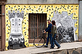 Chile, Valparaiso Region, Valparaiso, historic district listed as World Heritage by UNESCO, Cerro Conception, fresco