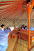 France, Lozere, Aumont Aubrac, authentic inside of a yurt