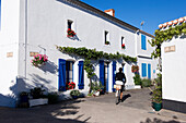 France, Vendee, Ile de Noirmoutier, Noirmoutier en l'Ile, Banzeau district and its colourful houses