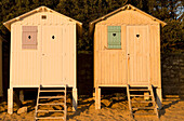 France, Vendee, Ile de Noirmoutier, Bois de la Chaise, la plage des Dames (Ladies Beach) and its beach huts