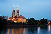 Poland, Silesia region, Wroclaw, the banks of the Odra, Tumski Ostrow is the historical heart of the city of origin, the Cathedral of St. John Baptist