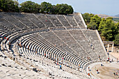 Greece, Peloponnese Region, the archaeological site of Epidaurus, listed as Wolrd Heritage by UNESCO, the theater built in the fourth century BC by the Argien architect Polykleitos the Younger