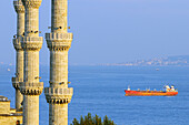 Turkey, Istanbul, historical centre listed as World Heritage by UNESCO, Sultanahmet District, minarets of the Sultan Ahmet Camii (Blue Mosque) and the Bosphorus strait
