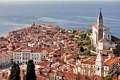 Slovenia, Gulf of Trieste, Adriatic Coast, Primorska Region, Piran seaside resort and tower of the Saint George church