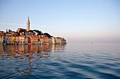 Croatia, Istria, Adriatic coast, Rovinj, dominated by the church of St Eufemia in baroque style