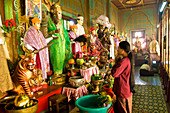 Myanmar (Burma), Mandalay Division, Mount Popa, Mahagiri Monastery, the pilgrims come to make their offerings to the 37 nats (spirits) from Burmese pantheon