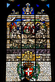 France, Savoie, Chambery, chateau des ducs de Savoie, stained-glass window of Sainte Chapelle, visit of the holy women on the morning of Easter with the holy shroud