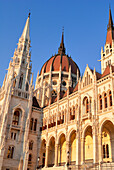 Hungary, Budapest, the Parliament, which was achieved in 1902, overlooking the Danube river bank, listed as World Heritage by UNESCO at Pest