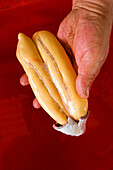 France, Bouches du Rhone, Martigues, the poutargue (boutargue), dried roe of mullet, local speciality