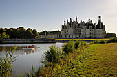 France, Loir et Cher, Loire Valley listed as World Heritage by UNESCO, Chateau de Chambord, discovery by small boat