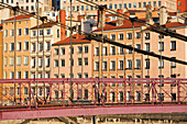 France, Rhone, Lyon, historical site listed as World Heritage by UNESCO, Quay and St Vincent footbridge over the Saone river