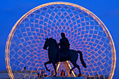 France, Rhone, Lyon, historical site listed as World Heritage by UNESCO, the great wheel on place Bellecour (Bellecour Square) and equestrian statue of Louis XIV