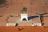 France, Rhone, Lyon, historical site listed as World Heritage by UNESCO, equestrian statue of Louis XIV on place Bellecour (Bellecour square) seen from the great wheel