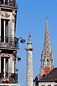 France, Loire Atlantique, Nantes, European Green Capital 2013, building of the Place Saint Pierre, Louis XVI column and bell tower of church Saint Clement