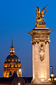 France, Paris, area listed as World Heritage by UNESCO, the Invalides dome and one pilar of Alexander III bridge