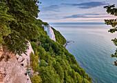 Chalk coast with Koenigstuhl in Jasmund national park, Ruegen island, Mecklenburg Vorpommern, Germany