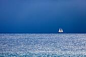 'Classic Sailing Schooner ''Aschanti IV''  facing an oncoming storm, Naval Architect Henry Gruber, Shipyard Burmester, Bremen, 1954, Classic Sailing Regatta ''Régates Royales'', Cannes, Cotes d'Azur, France'