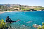 Snorkeling along the beach, Platja de Garbet, Llançà, Girona, Costa Brava, Mediterranean Sea, Catalonia, Spain