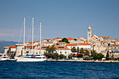 Motor sailing cruise ship M/S Panorama (Variety Cruises) at pier with Korcula Old Town and St. Mark's Cathedral, Korcula, Dubrovnik-Neretva, Croatia