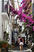 Spain, Catalonia, Costa Brava, Cadaques, pedestrian lane