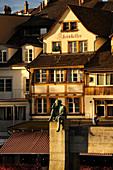 Switzerland, Basel, Helvetia, who is the feminine allegory symbolising Switzerland, seated on the Mittlere Brücke