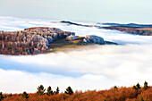 Inversion at Kreuzberg, Rhoen Biosphere Reserve, Bavarian Rhoen Nature Park, Bavaria, Germany