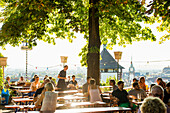 beer garden, Freiburg, Black Forest, Baden-Wuerttemberg, Germany