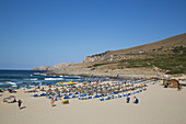 Overhead of people on Cala Mesquida beach, Cala Mesquida, Mallorca, Balearic Islands, Spain