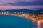 Overhead of Arenal beach seen from Whala Beach Hotel at dusk, s'Arenal, near Palma, Mallorca, Balearic Islands, Spain