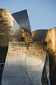Guggenheim Museum Bilbao ,detail of  titan facade at sunset, museum of modern and contemporary art , architect Frank Gehry , Bilbao, Basque Country, Spain (editiorial only)