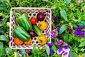 Close up of basket of fresh vegetables on flowers