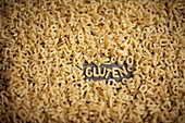 Alphabet noodles spelling gluten