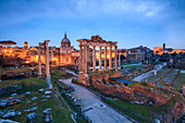 The blue light of dusk on the ancient Imperial Forum, UNESCO World Heritage Site, Rome, Lazio, Italy, Europe