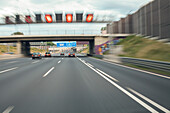 German Autobahn, A1, motorway, highway, freeway, speed, speed limit, electronic signs, noise barrier walls, traffic, infrastructure, trucks, Cologne, Germany