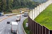 German Autobahn A1, noise barrier, wall, motorway, highway, freeway, speed, speed limit, traffic, infrastructure, Ruhr region, Germany