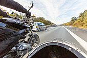 German Autobahn, motorbike with side car, driving, passenger view, motorway, highway, freeway, speed, speed limit, traffic, infrastructure, Germany